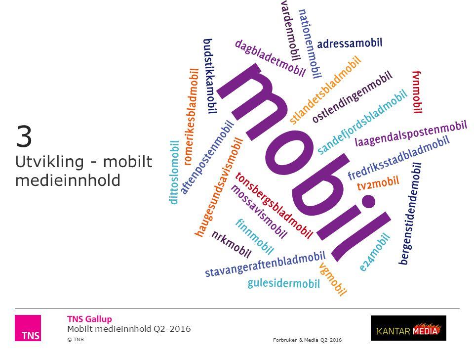 Mobilt medieinnhold Q2-2016 © TNS Forbruker & Media Q2-2016 Ved publisering av resultater fra undersøkelser gjennomført av TNS Gallup, skal navn på oppdragsgiver og institutt alltid oppgis.