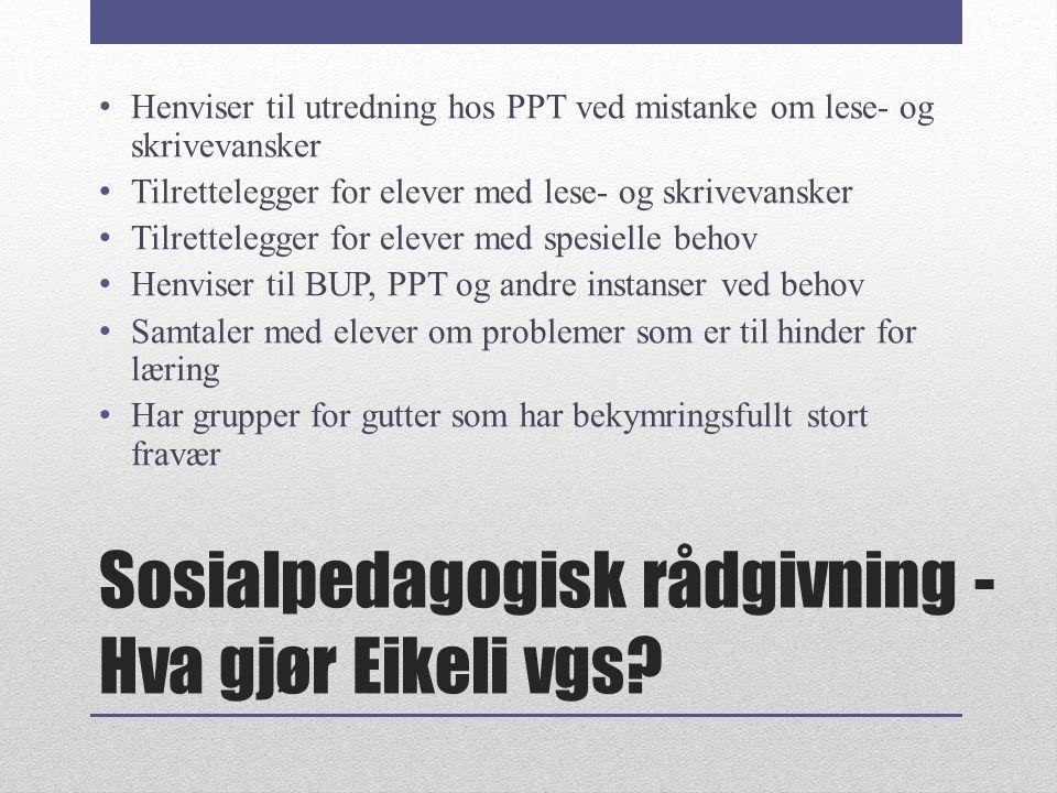 Sosialpedagogisk rådgivning - Hva gjør Eikeli vgs? Henviser til utredning hos PPT ved mistanke om lese- og skrivevansker Tilrettelegger for elever med