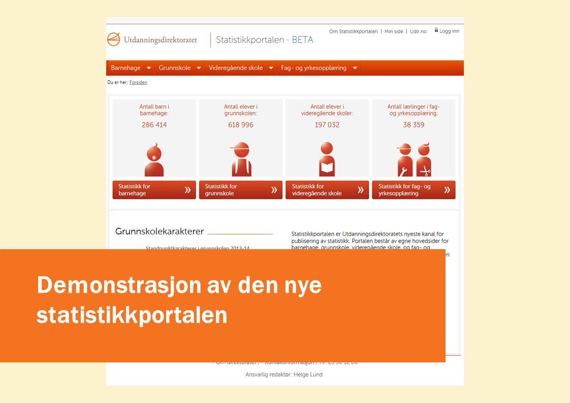 Demonstrasjon av den nye statistikkportalen