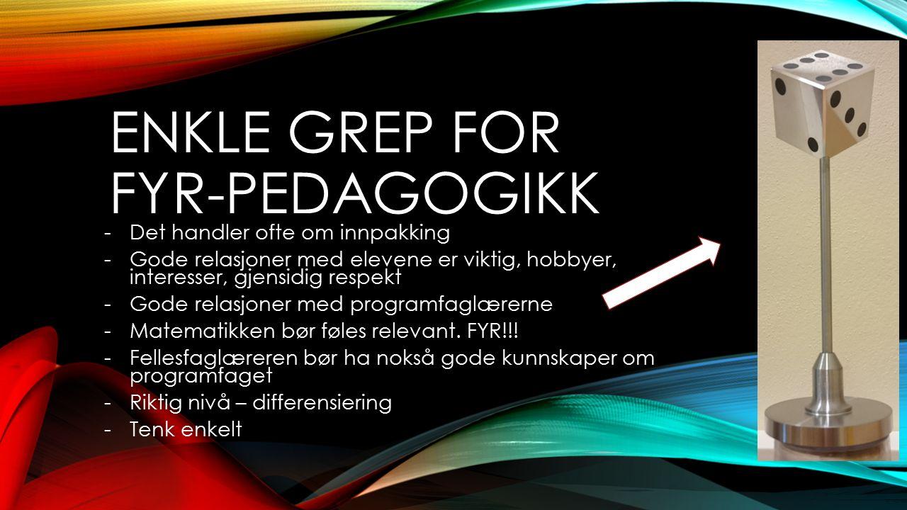 ENKLE GREP FOR FYR-PEDAGOGIKK -Det handler ofte om innpakking -Gode relasjoner med elevene er viktig, hobbyer, interesser, gjensidig respekt -Gode rel