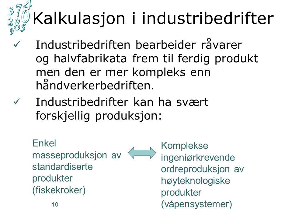 10 Kalkulasjon i industribedrifter Industribedriften bearbeider råvarer og halvfabrikata frem til ferdig produkt men den er mer kompleks enn håndverkerbedriften.