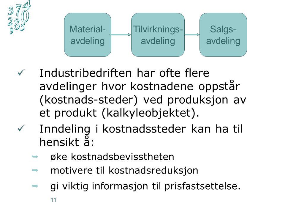 11 Industribedriften har ofte flere avdelinger hvor kostnadene oppstår (kostnads-steder) ved produksjon av et produkt (kalkyleobjektet).