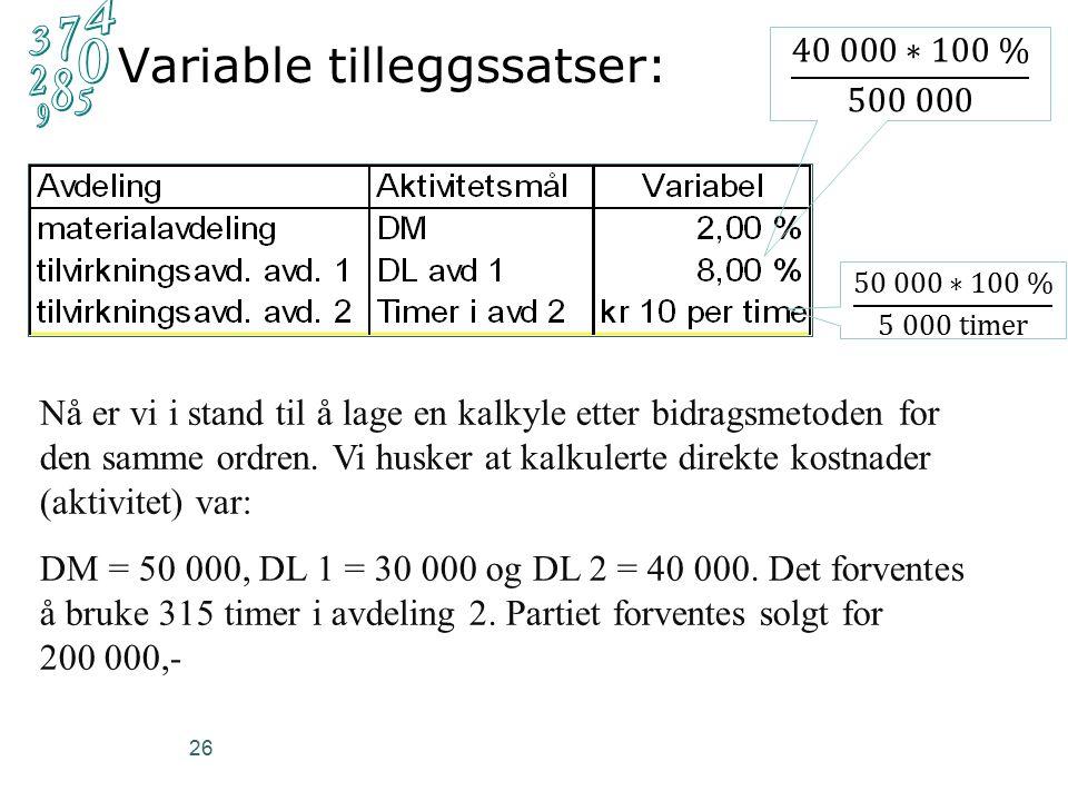 26 Variable tilleggssatser: Nå er vi i stand til å lage en kalkyle etter bidragsmetoden for den samme ordren.