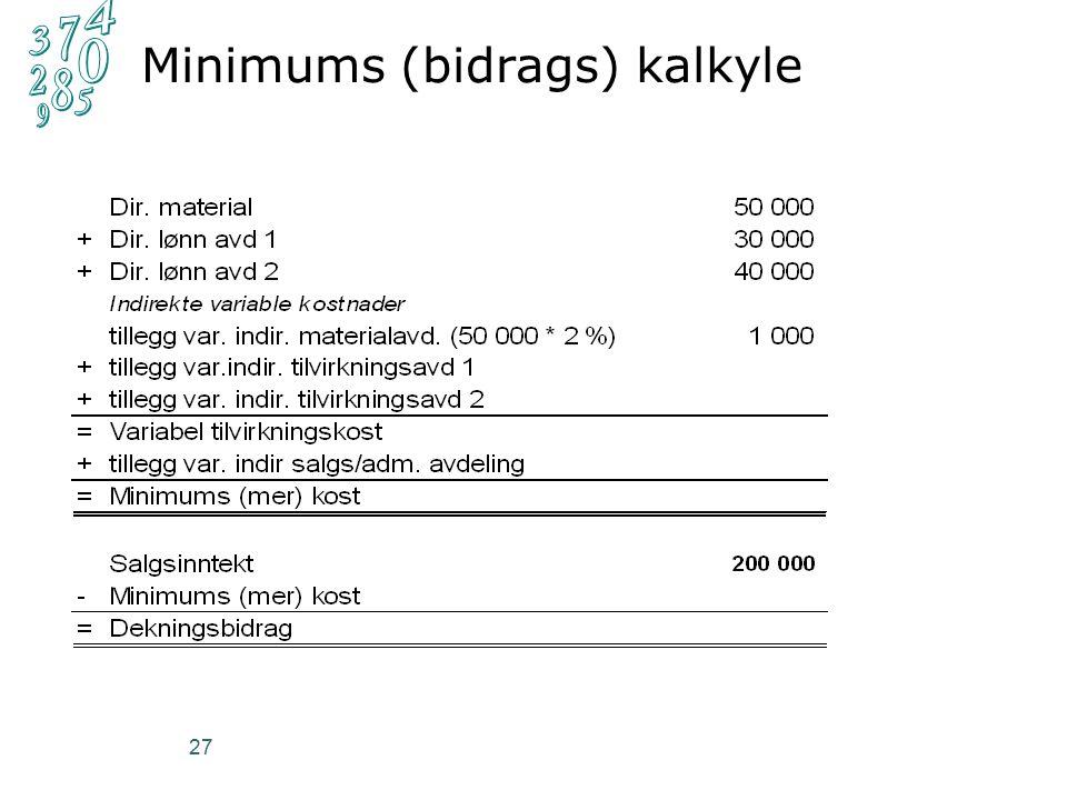 27 Minimums (bidrags) kalkyle