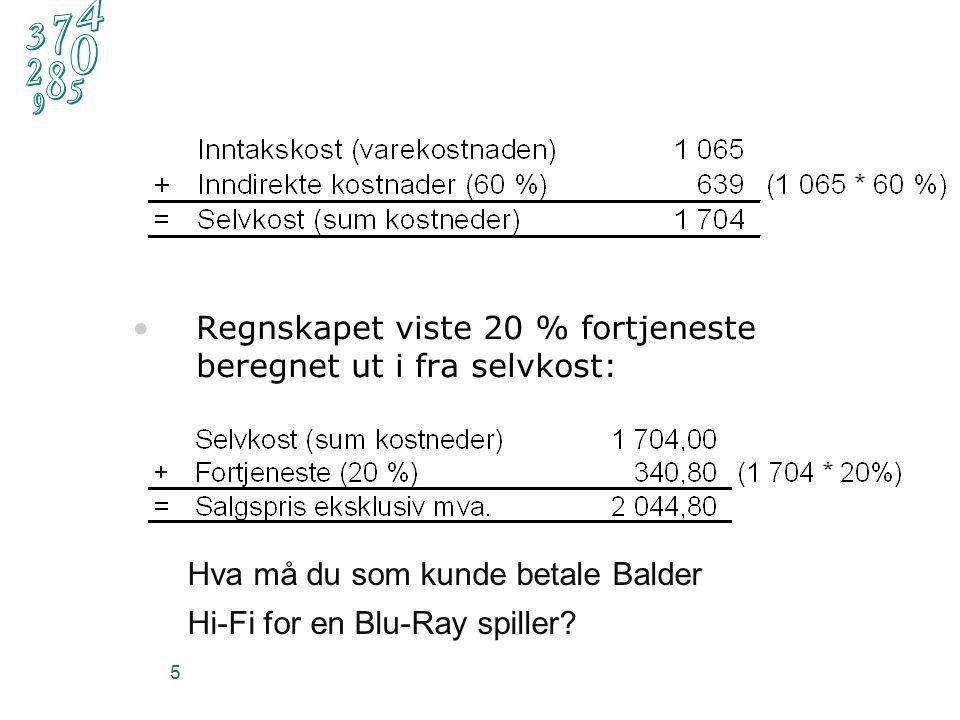 5 Regnskapet viste 20 % fortjeneste beregnet ut i fra selvkost: Hva må du som kunde betale Balder Hi-Fi for en Blu-Ray spiller