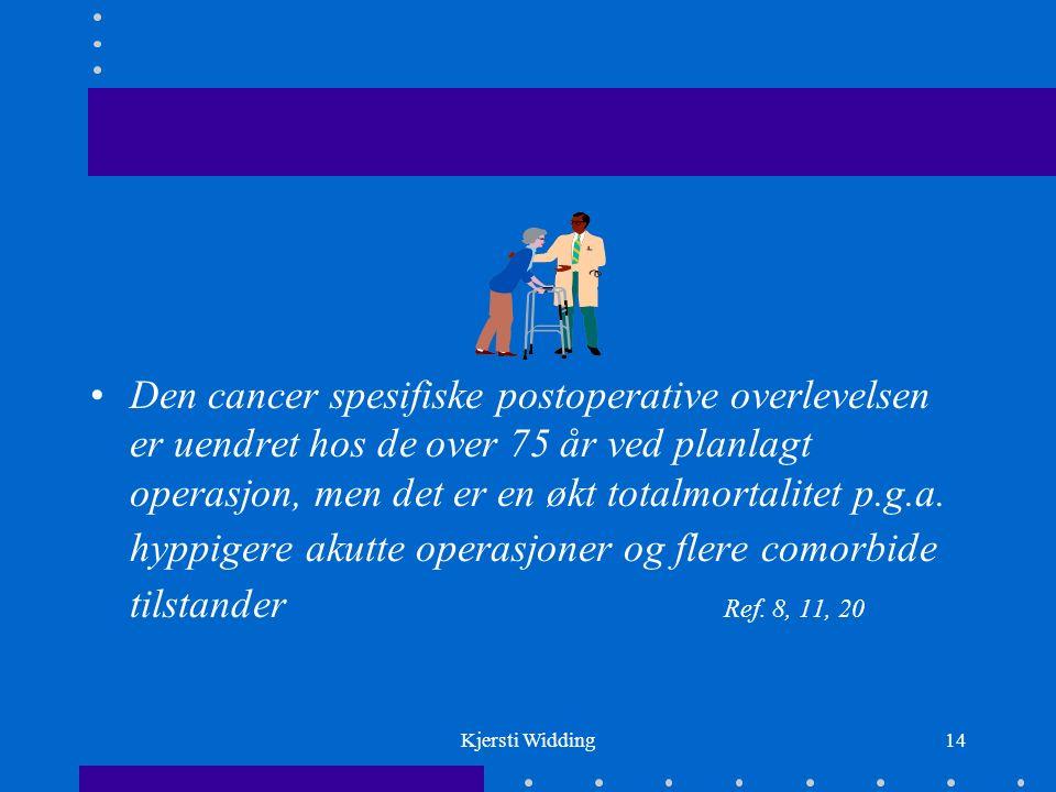 Kjersti Widding14 Den cancer spesifiske postoperative overlevelsen er uendret hos de over 75 år ved planlagt operasjon, men det er en økt totalmortalitet p.g.a.