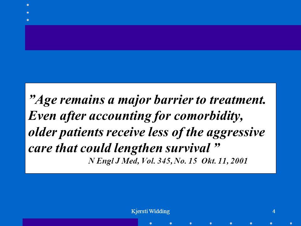 Kjersti Widding15 ADJUVANT BEHANDLING Fikserte rectumcancer (T3 - 4) bør preoperativt strålebehandles Adjuvant kjemoterapi (5-fluorouracil + leucovorin) i 6 måneder til pasienter under 75 år som er radikaloperert for coloncancer stadium Dukes C - forbedret 5 års overlevelse med 10 - 15 % Ref.