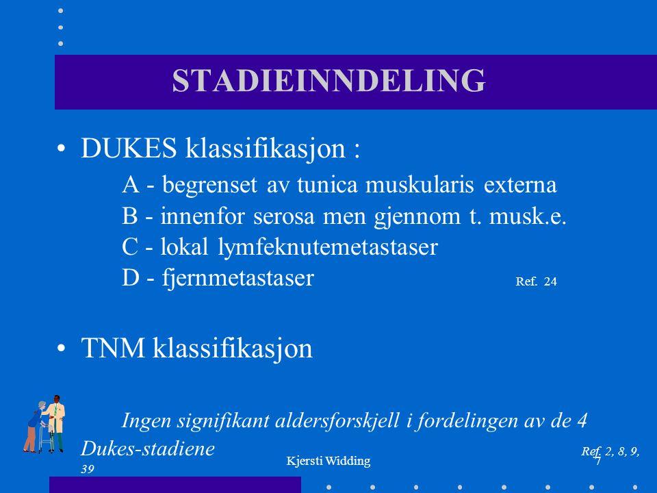Kjersti Widding7 STADIEINNDELING DUKES klassifikasjon : A - begrenset av tunica muskularis externa B - innenfor serosa men gjennom t.