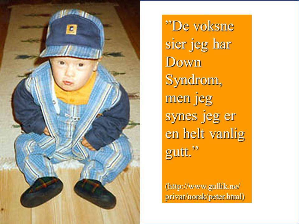 40 De voksne sier jeg har Down Syndrom, men jeg synes jeg er en helt vanlig gutt. (http://www.gullik.no/ privat/norsk/peter.html)