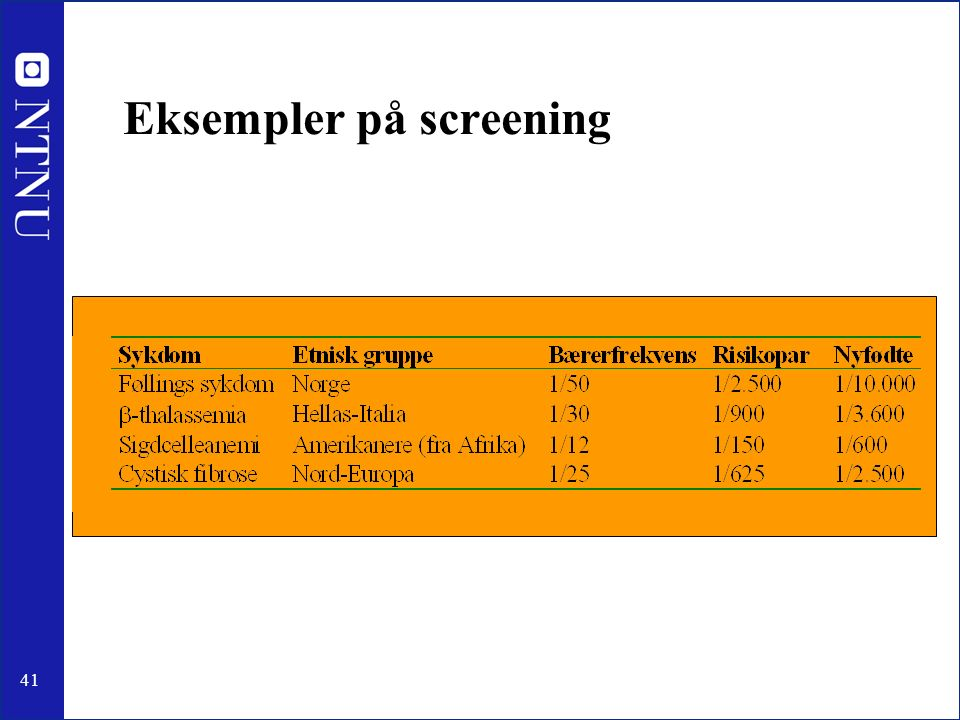 41 Eksempler på screening