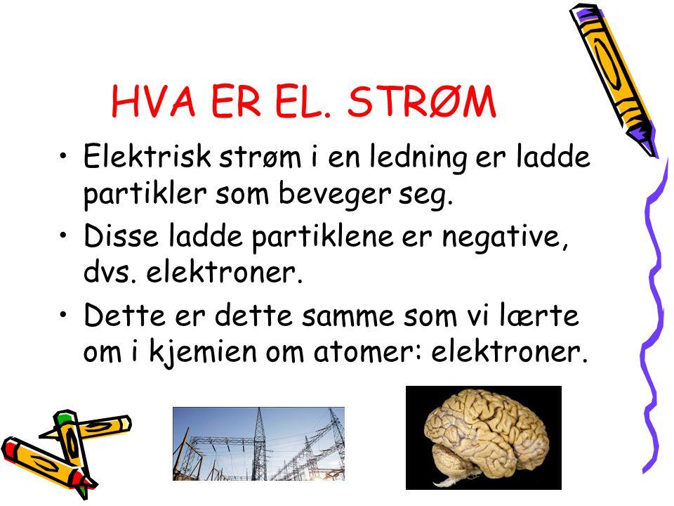 HVA ER EL. STRØM Elektrisk strøm i en ledning er ladde partikler som beveger seg. Disse ladde partiklene er negative, dvs. elektroner. Dette er dette