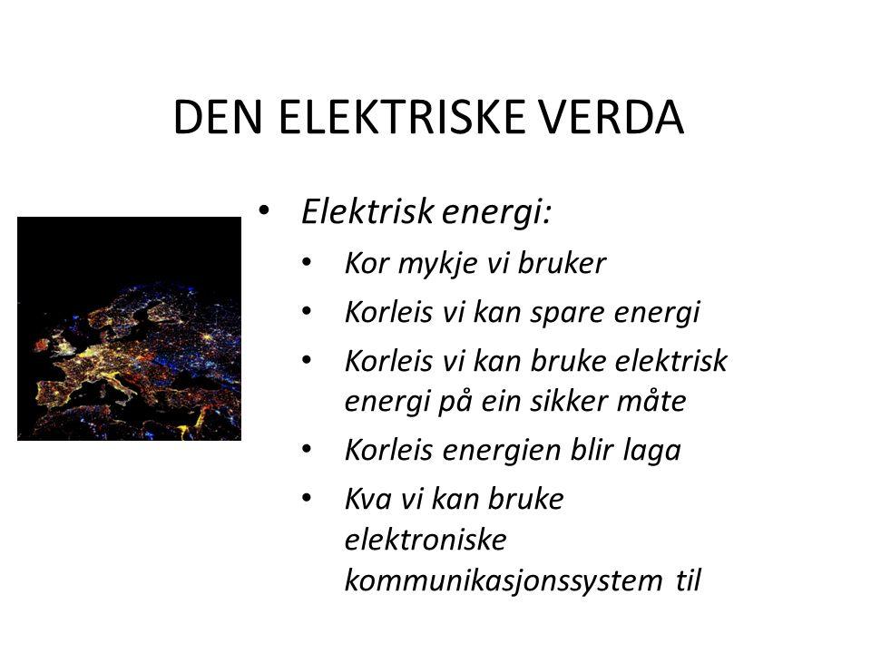 DEN ELEKTRISKE VERDA Elektrisk energi: Kor mykje vi bruker Korleis vi kan spare energi Korleis vi kan bruke elektrisk energi på ein sikker måte Korleis energien blir laga Kva vi kan bruke elektroniske kommunikasjonssystem til