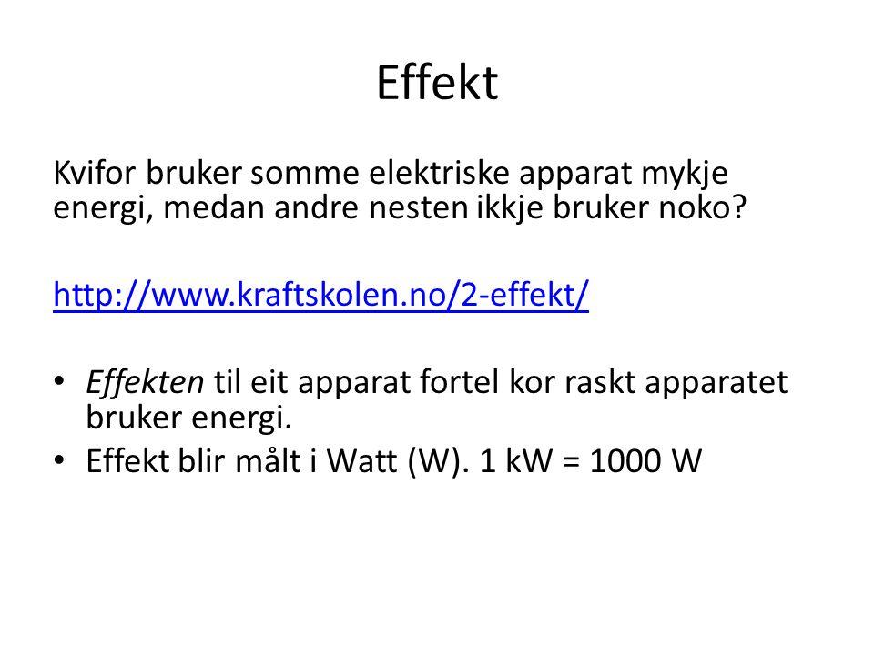 Effekt Kvifor bruker somme elektriske apparat mykje energi, medan andre nesten ikkje bruker noko.