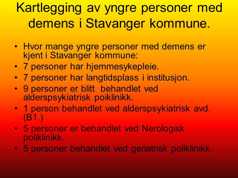 Kartlegging av yngre personer med demens i Stavanger kommune.