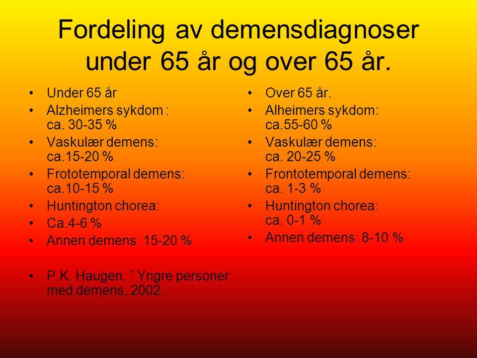 Fordeling av demensdiagnoser under 65 år og over 65 år. Under 65 år Alzheimers sykdom : ca. 30-35 % Vaskulær demens: ca.15-20 % Frototemporal demens: