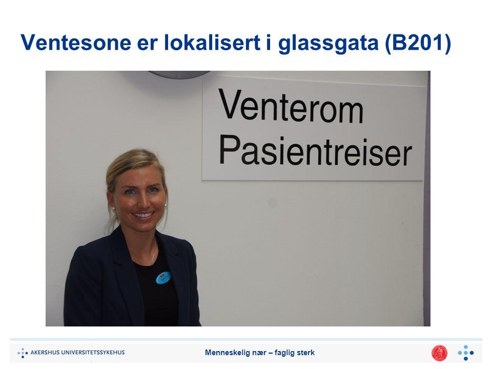 Ventesone er lokalisert i glassgata (B201)