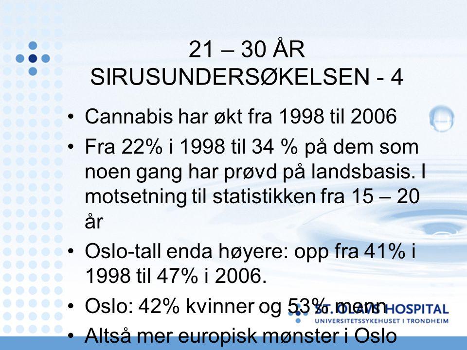 21 – 30 ÅR SIRUSUNDERSØKELSEN - 4 Cannabis har økt fra 1998 til 2006 Fra 22% i 1998 til 34 % på dem som noen gang har prøvd på landsbasis.