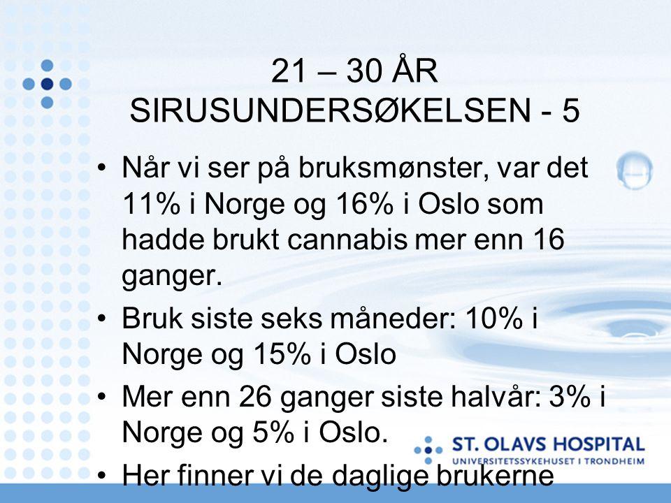 21 – 30 ÅR SIRUSUNDERSØKELSEN - 5 Når vi ser på bruksmønster, var det 11% i Norge og 16% i Oslo som hadde brukt cannabis mer enn 16 ganger. Bruk siste