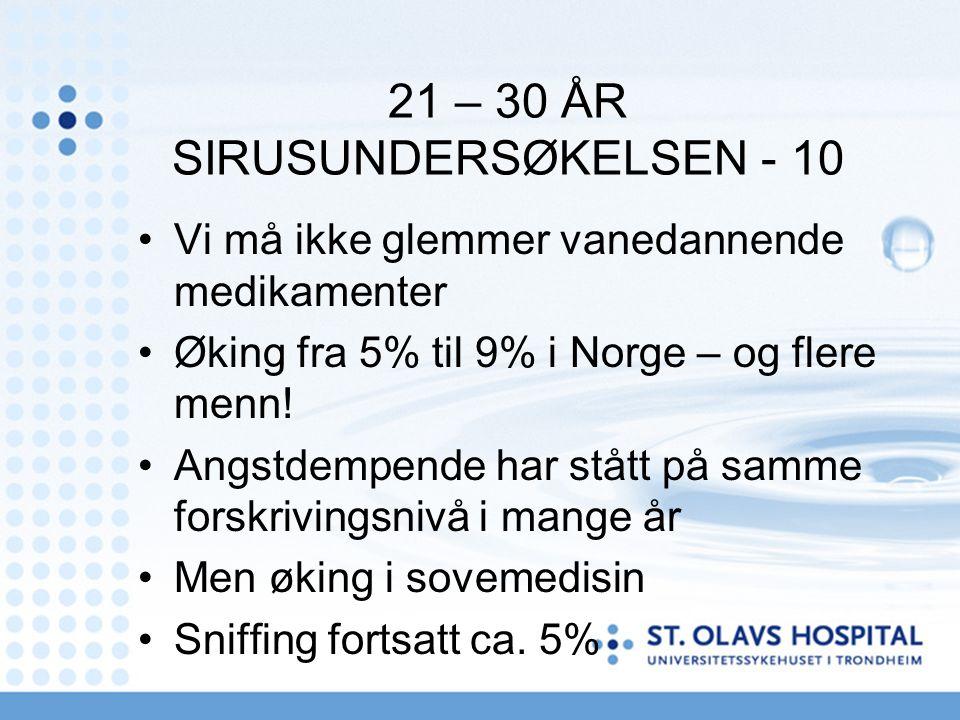 21 – 30 ÅR SIRUSUNDERSØKELSEN - 10 Vi må ikke glemmer vanedannende medikamenter Øking fra 5% til 9% i Norge – og flere menn! Angstdempende har stått p