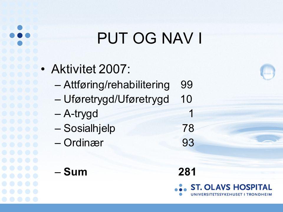 PUT OG NAV I Aktivitet 2007: –Attføring/rehabilitering 99 –Uføretrygd/Uføretrygd 10 –A-trygd 1 –Sosialhjelp78 –Ordinær93 –Sum 281