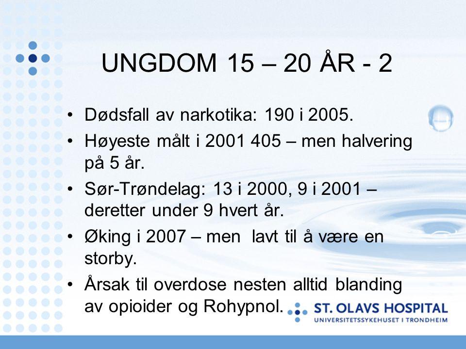 UNGDOM 15 – 20 ÅR - 2 Dødsfall av narkotika: 190 i 2005. Høyeste målt i 2001 405 – men halvering på 5 år. Sør-Trøndelag: 13 i 2000, 9 i 2001 – derette