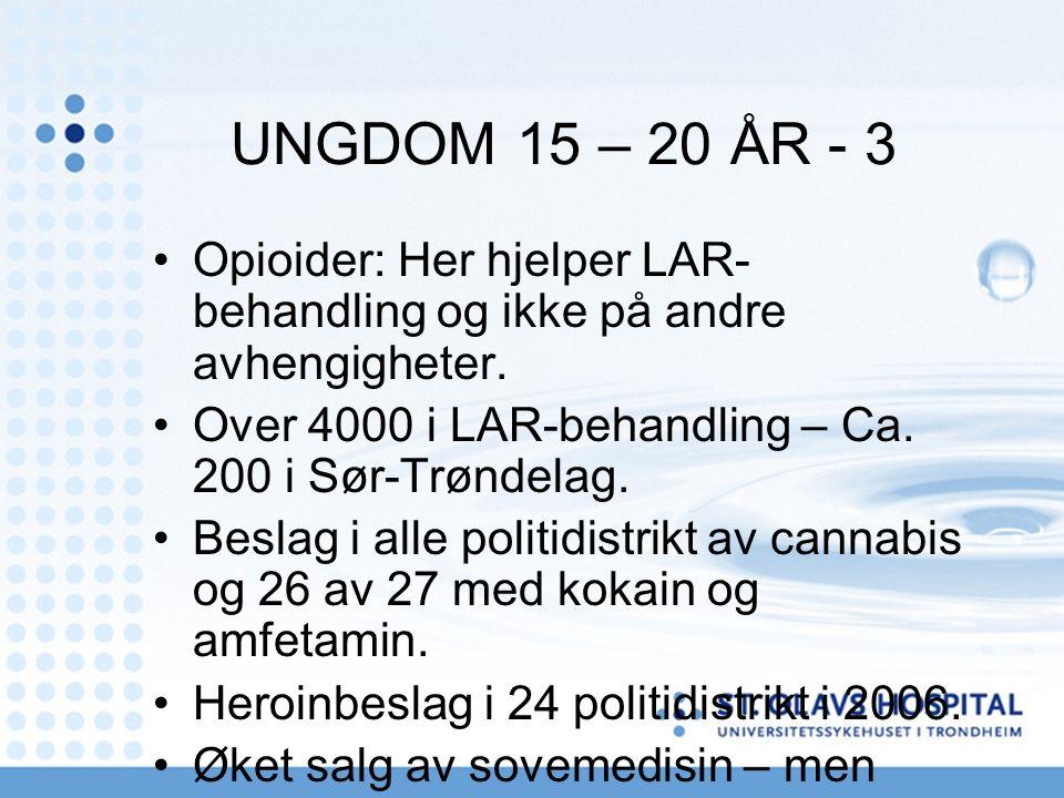 UNGDOM 15 – 20 ÅR - 3 Opioider: Her hjelper LAR- behandling og ikke på andre avhengigheter. Over 4000 i LAR-behandling – Ca. 200 i Sør-Trøndelag. Besl