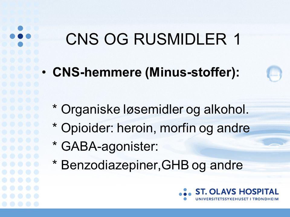 CNS OG RUSMIDLER 1 CNS-hemmere (Minus-stoffer): * Organiske løsemidler og alkohol. * Opioider: heroin, morfin og andre * GABA-agonister: * Benzodiazep