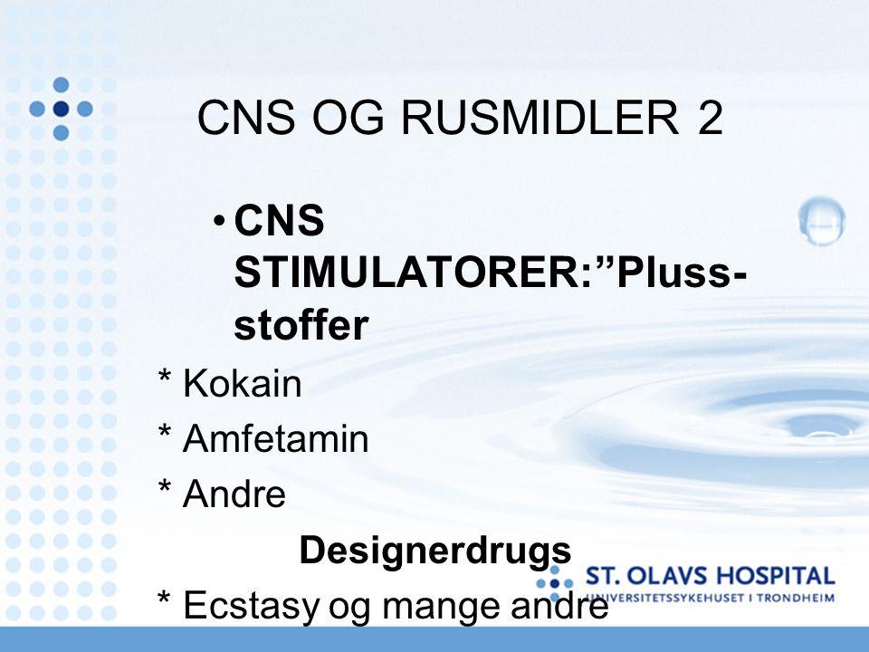 """CNS OG RUSMIDLER 2 CNS STIMULATORER:""""Pluss- stoffer * Kokain * Amfetamin * Andre Designerdrugs * Ecstasy og mange andre"""