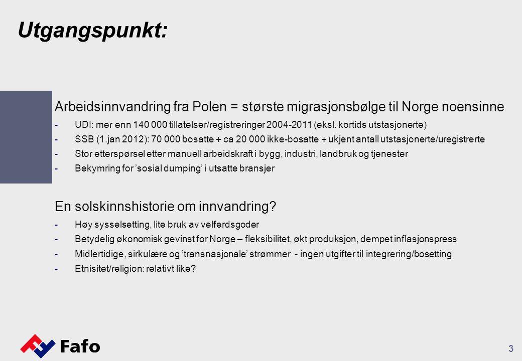 Utgangspunkt: Arbeidsinnvandring fra Polen = største migrasjonsbølge til Norge noensinne -UDI: mer enn 140 000 tillatelser/registreringer 2004-2011 (eksl.