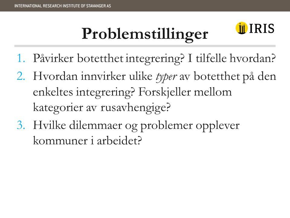 Problemstillinger 1.Påvirker botetthet integrering.