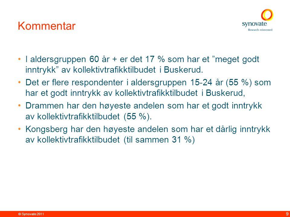 © Synovate 2011 9 Kommentar I aldersgruppen 60 år + er det 17 % som har et meget godt inntrykk av kollektivtrafikktilbudet i Buskerud.