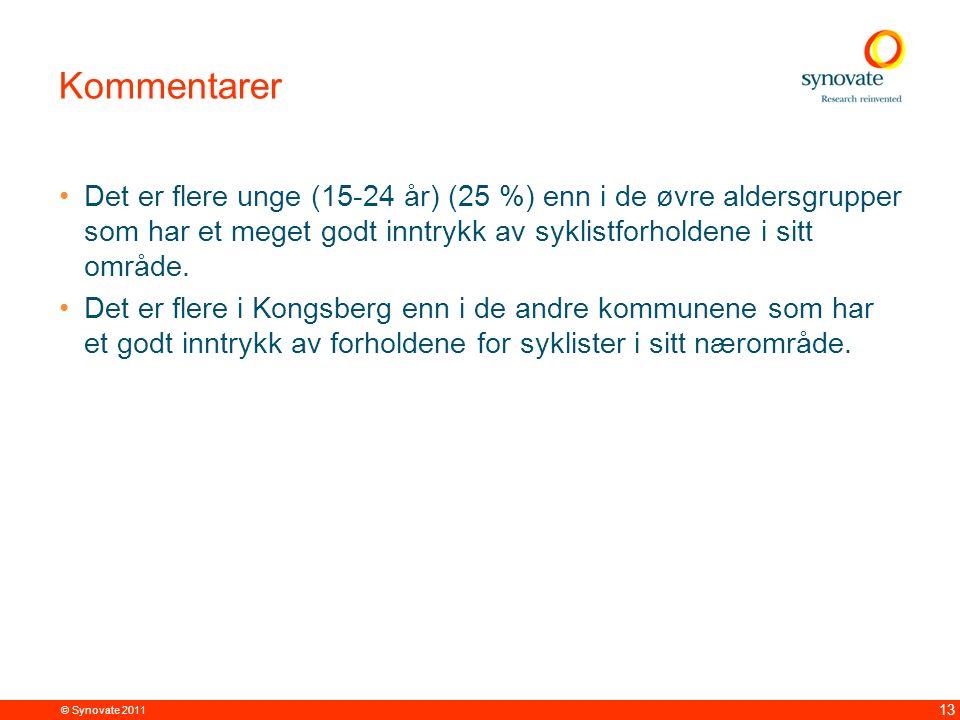 © Synovate 2011 13 Kommentarer Det er flere unge (15-24 år) (25 %) enn i de øvre aldersgrupper som har et meget godt inntrykk av syklistforholdene i s