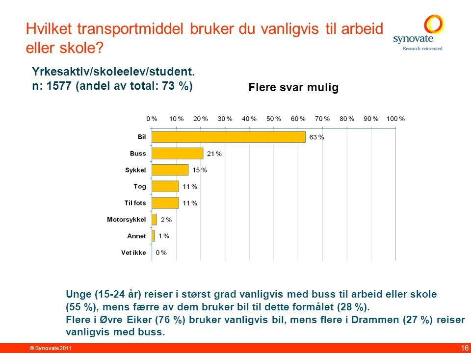 © Synovate 2011 16 Hvilket transportmiddel bruker du vanligvis til arbeid eller skole.