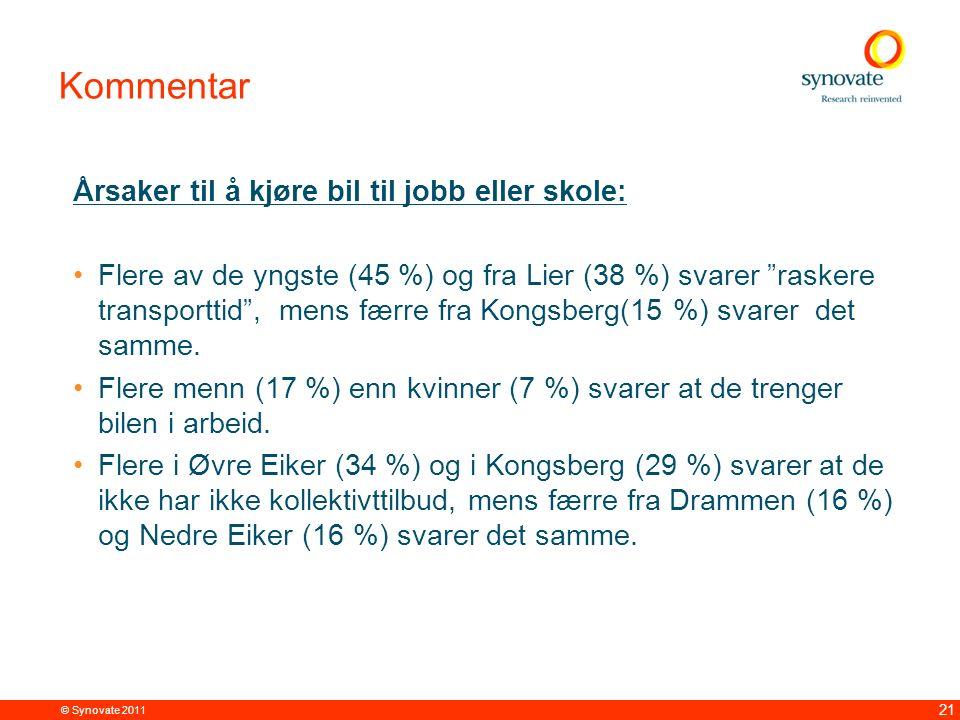© Synovate 2011 21 Kommentar Årsaker til å kjøre bil til jobb eller skole: Flere av de yngste (45 %) og fra Lier (38 %) svarer raskere transporttid , mens færre fra Kongsberg(15 %) svarer det samme.