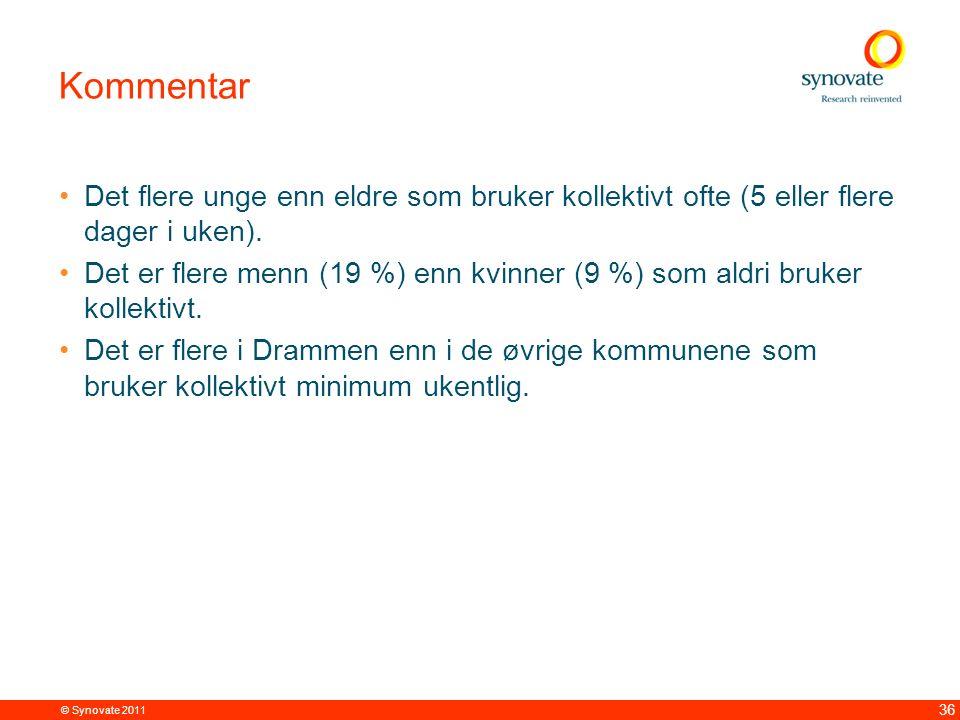 © Synovate 2011 36 Kommentar Det flere unge enn eldre som bruker kollektivt ofte (5 eller flere dager i uken).