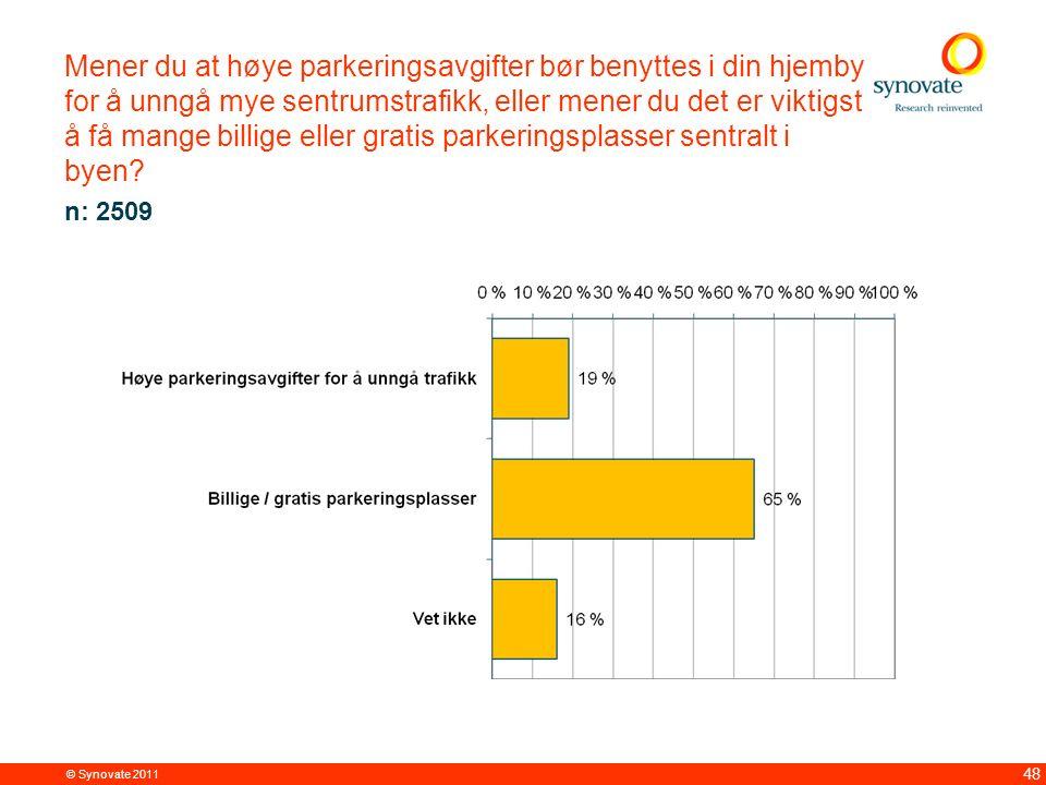 © Synovate 2011 48 Mener du at høye parkeringsavgifter bør benyttes i din hjemby for å unngå mye sentrumstrafikk, eller mener du det er viktigst å få