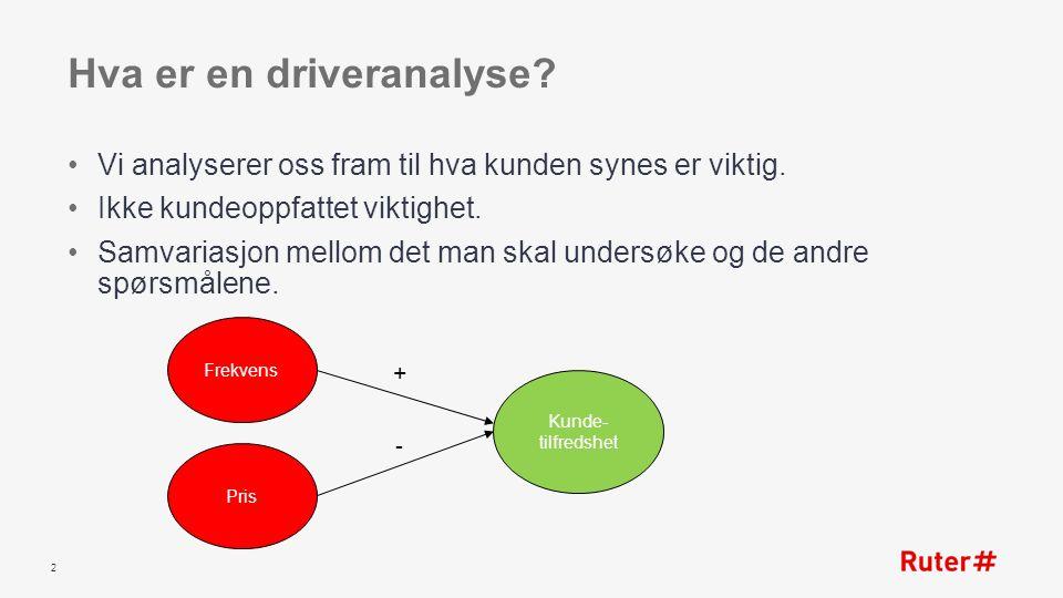 Hva er en driveranalyse. Vi analyserer oss fram til hva kunden synes er viktig.