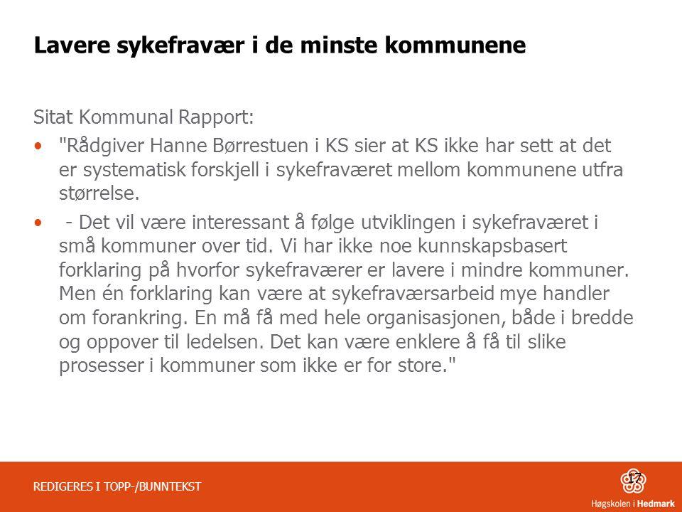 Lavere sykefravær i de minste kommunene Sitat Kommunal Rapport: Rådgiver Hanne Børrestuen i KS sier at KS ikke har sett at det er systematisk forskjell i sykefraværet mellom kommunene utfra størrelse.