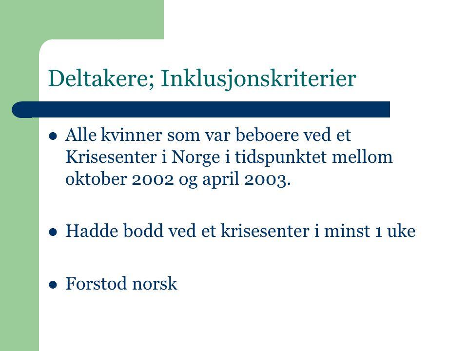 Deltakere; Inklusjonskriterier Alle kvinner som var beboere ved et Krisesenter i Norge i tidspunktet mellom oktober 2002 og april 2003.