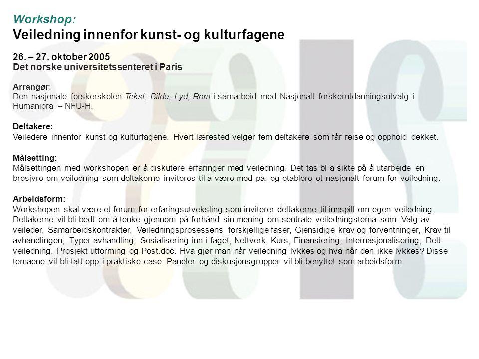 Workshop: Veiledning innenfor kunst- og kulturfagene 26.