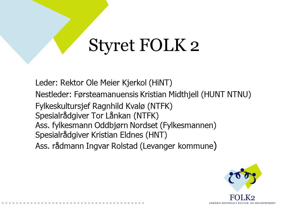 FOLK 2 Prosjektleder dr.art. Margunn Skjei Knudtsen margunn-skjei.knudtsen@ntfk.no tlf.