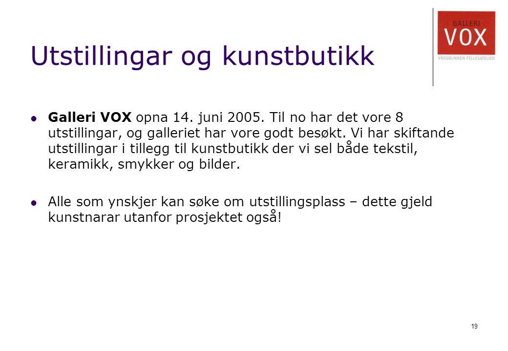 19 Utstillingar og kunstbutikk Galleri VOX opna 14. juni 2005. Til no har det vore 8 utstillingar, og galleriet har vore godt besøkt. Vi har skiftande
