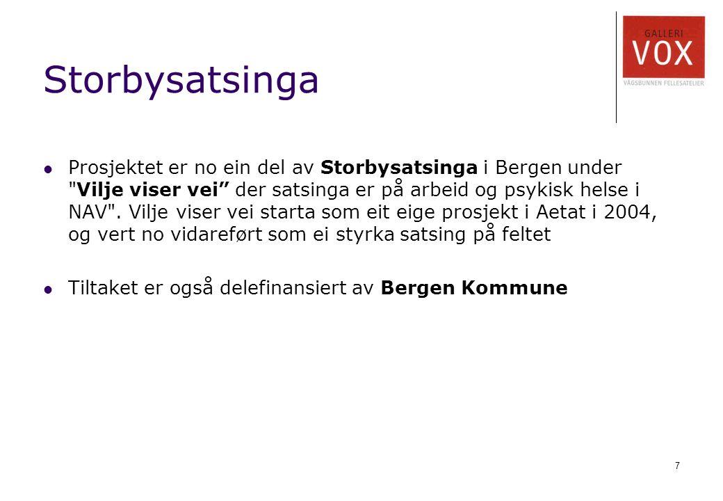 7 Storbysatsinga Prosjektet er no ein del av Storbysatsinga i Bergen under Vilje viser vei der satsinga er på arbeid og psykisk helse i NAV .