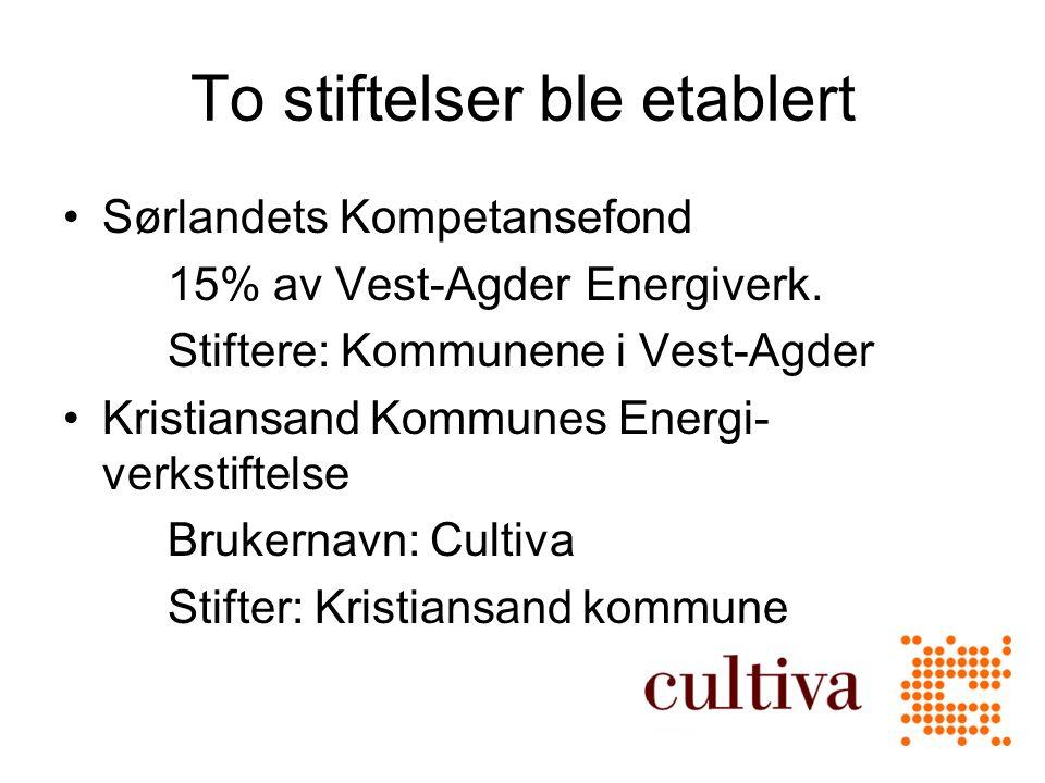 To stiftelser ble etablert Sørlandets Kompetansefond 15% av Vest-Agder Energiverk.