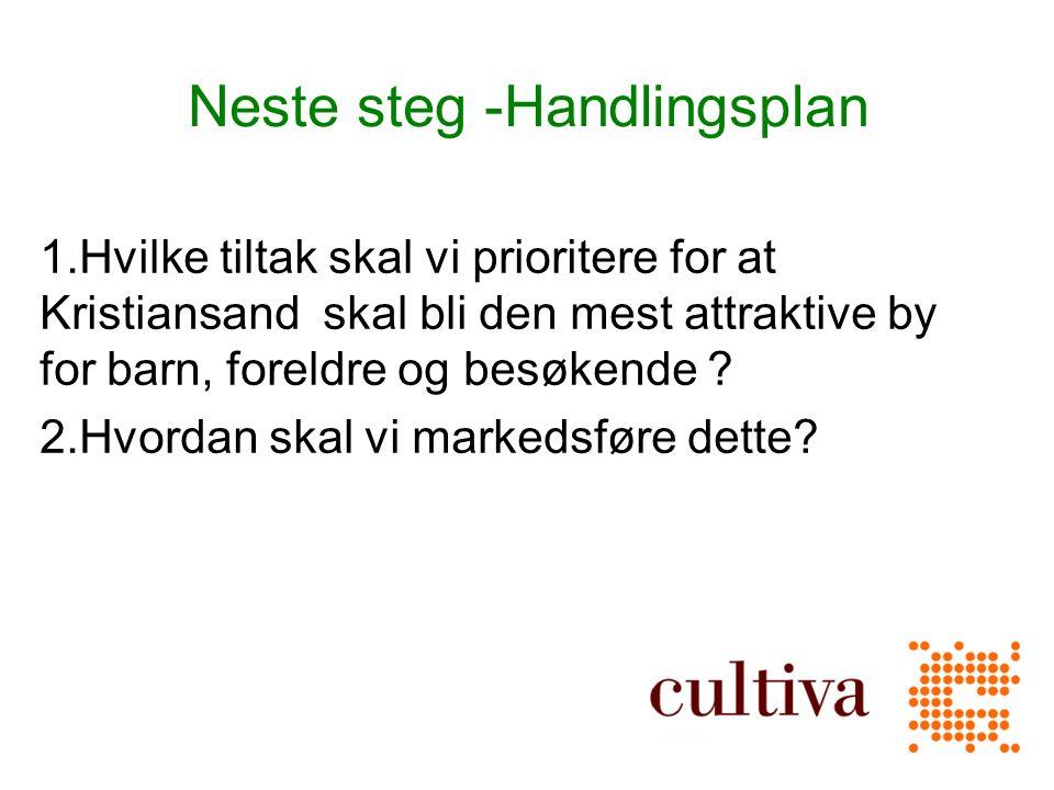 Neste steg -Handlingsplan 1.Hvilke tiltak skal vi prioritere for at Kristiansand skal bli den mest attraktive by for barn, foreldre og besøkende .