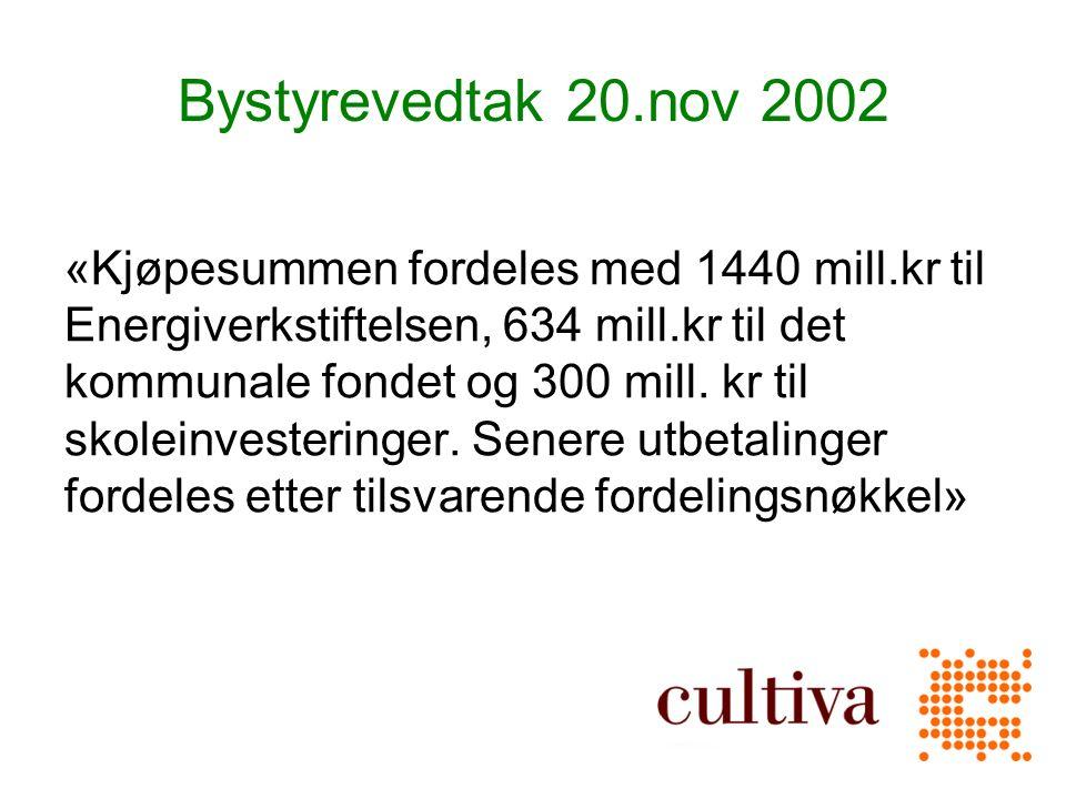 Bystyrevedtak 20.nov 2002 «Kjøpesummen fordeles med 1440 mill.kr til Energiverkstiftelsen, 634 mill.kr til det kommunale fondet og 300 mill.