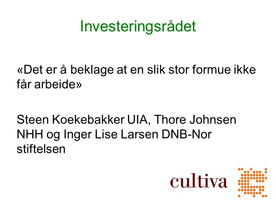 Investeringsrådet «Det er å beklage at en slik stor formue ikke får arbeide» Steen Koekebakker UIA, Thore Johnsen NHH og Inger Lise Larsen DNB-Nor stiftelsen