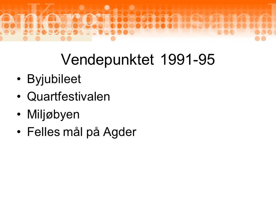 Vendepunktet 1991-95 Byjubileet Quartfestivalen Miljøbyen Felles mål på Agder