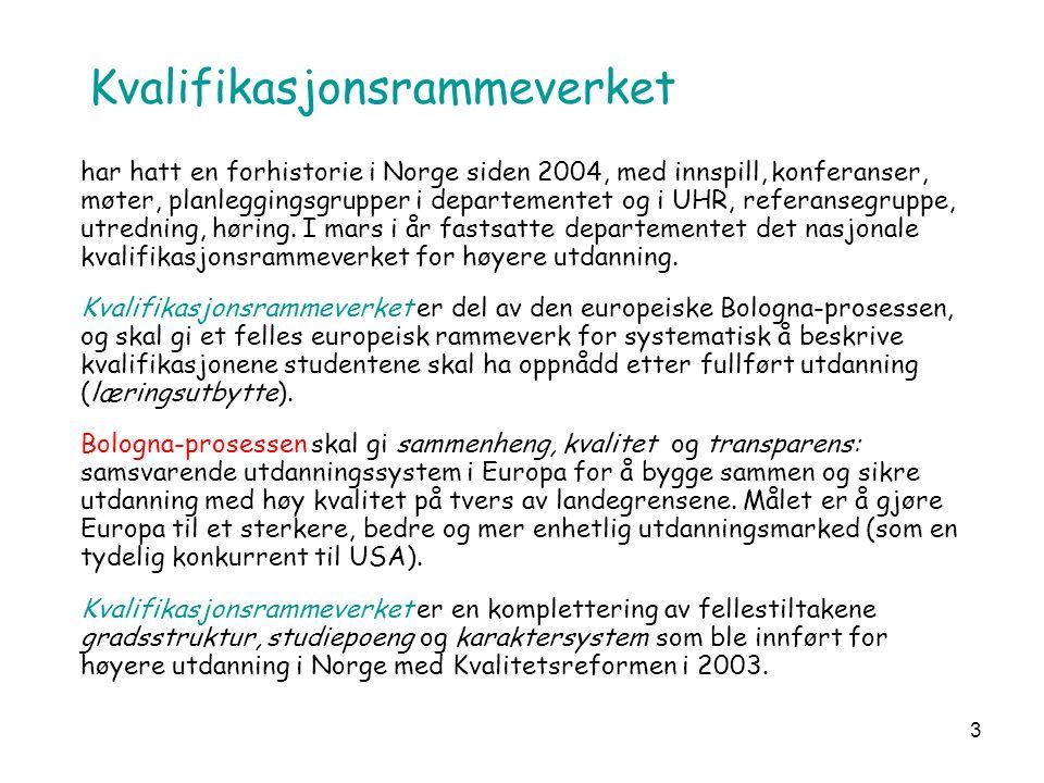3 Kvalifikasjonsrammeverket har hatt en forhistorie i Norge siden 2004, med innspill, konferanser, møter, planleggingsgrupper i departementet og i UHR, referansegruppe, utredning, høring.