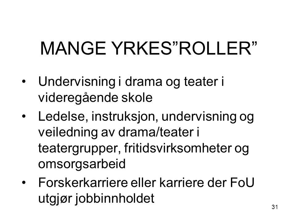 31 MANGE YRKES ROLLER Undervisning i drama og teater i videregående skole Ledelse, instruksjon, undervisning og veiledning av drama/teater i teatergrupper, fritidsvirksomheter og omsorgsarbeid Forskerkarriere eller karriere der FoU utgjør jobbinnholdet